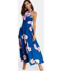 halter azul con estampado floral al azar cuello maxi con abertura en la espalda abierta vestido