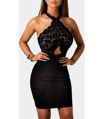 halter mini con encaje transparente y transparente negro vestido