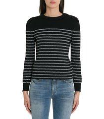 saint laurent silver striped sweater