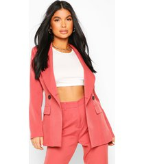 petite fitted double breasted blazer, mauve
