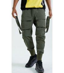 koyye pantalones cargo casuales con cinta liso para hombre