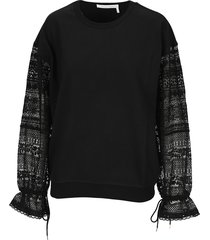 see by chloe lace sleeves sweatshirt