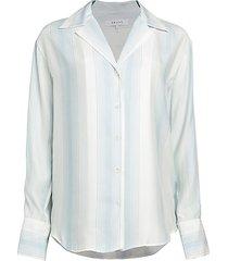 stripe silk pajama blouse