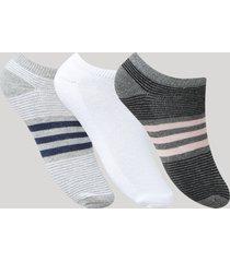 kit de 3 meias femininas soquete listradas multicor