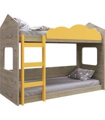 beliche montessoriano casinha montreal c/ amarelo completa móveis