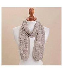 100% alpaca scarf, 'taupe wind' (peru)