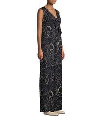 lafayette 148 new york women's adelphi graphic v-neck jumpsuit - black multi - size m