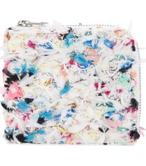 coohem knit tweed spring paint wallet - white