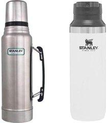 garrafa térmica 1l em aço inox + garrafa térmica stanley switchback 473ml
