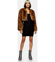 brown cropped faux fur coat - brown