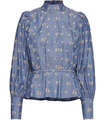 augusta blouse lange mouwen blauw custommade
