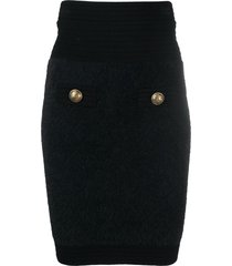 balmain stretch-knit mini skirt - black