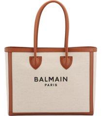 balmain b-army 42 écru canvas tote bag