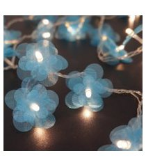 cordáo de luz - luz de fada crie casa organza flower azul