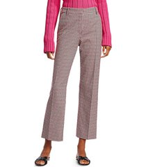 derek lam 10 crosby women's galen checker cropped trousers - pink white - size 0
