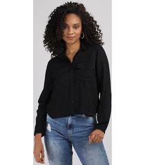 camisa feminina com bolsos manga longa preta