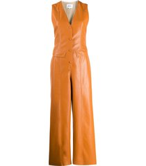 nanushka freya front button jumpsuit - orange