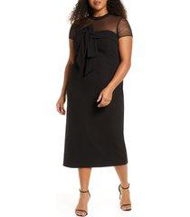plus size women's js collections bow illusion mesh cocktail dress, size 14w - black