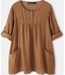 camicetta a maniche lunghe con scollo a o con bottone tasca solida per donna