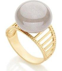 anel aro largo com laterais vazadas composto por pérola shell rommanel