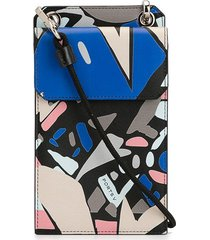 ports v abstract-print cross-body wallet - black