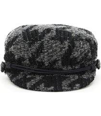 maison michel new abby cap in lurex tweed
