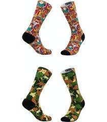 men's and women's hipster cat-moflage socks, set of 2