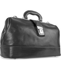 chiarugi designer travel bags, black genuine italian leather doctor bag