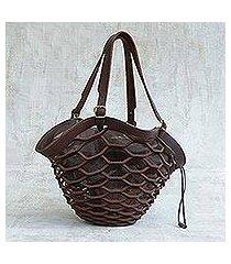 leather shoulder bag, 'espresso sambura' (13 inch) (brazil)