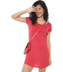 vestido fiveblu curto liso vermelho