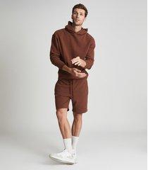 reiss alexander - oversized garment dye hoodie in rust, mens, size xxl