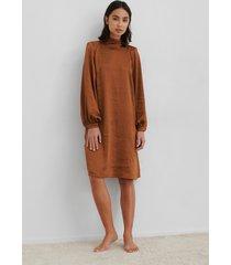 na-kd trend volume sleeve satin dress - brown