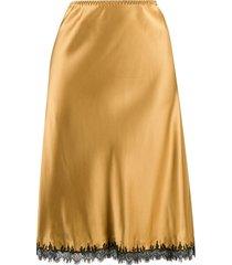 gilda & pearl lace trim slip skirt - yellow