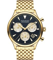 movado heritage chronograph bracelet watch, 43mm