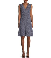 rebecca taylor women's sleeveless tweed dress - navy combo - size 4