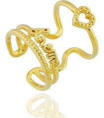 anel dona diva semi joias largo love dourado