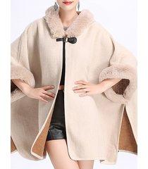 cappotti di mantello con cappuccio in pelliccia sintetica faux