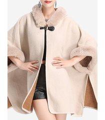 cappotti eleganti da donna con cappuccio in patchwork di pelliccia sintetica