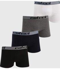 kit 4pçs cueca colcci boxer logo branco/azul-marinho