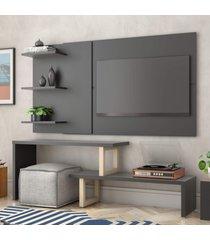 painel e rack para tv atreus preto natural casah - preto - dafiti