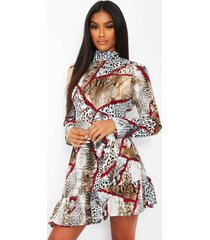 chain print high neck tie waist skater dress, brown