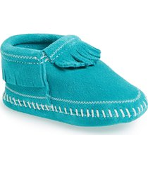 toddler girl's minnetonka 'riley' fringe suede bootie, size 5 m - blue/green