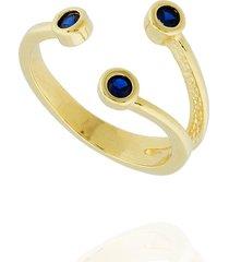 anel dona diva semi joias três zircônias safira dourado