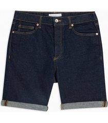mens blue raw denim slim shorts