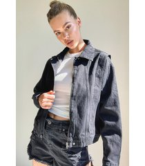80's cropped seam jean jacket, black