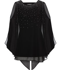 blusa in maglina con strass (nero) - bodyflirt boutique