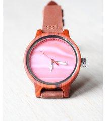 damski drewniany zegarek rainbow red