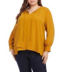 plus size women's karen kane crossover tie neck blouse, size 1x - yellow