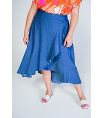 falda adrissa tallas plus efecto denim
