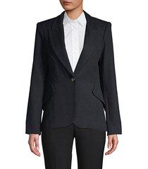 notch lapel cotton-blend blazer
